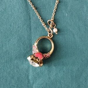 Auth Betsey Johnson Engagement Ring Necklace